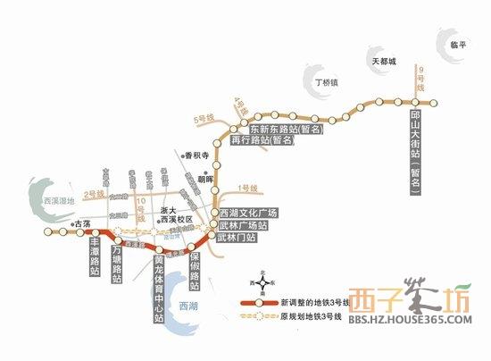 """按照杭州市中心""""三纵五横""""快速路网布局,天目山路-环城"""