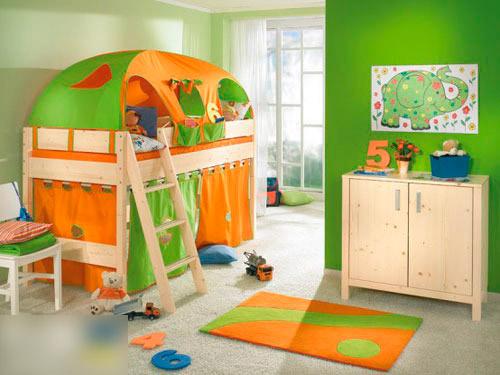 装修效果图:亮丽的绿色搭配暖暖的橙黄