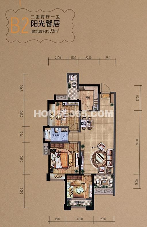 华润二十四城b2户型图三室两厅一卫93平米