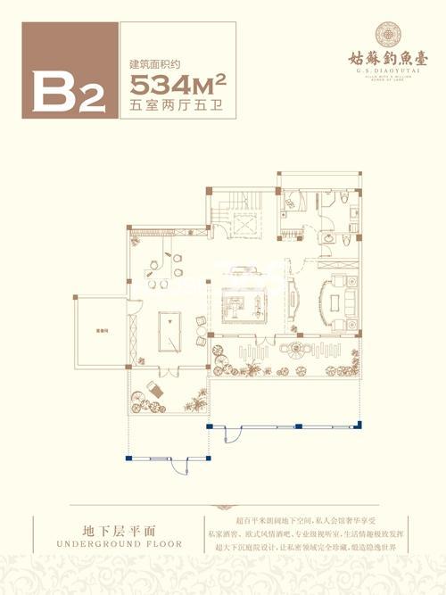 B2户型五室两厅五卫534平米 地下层平面图