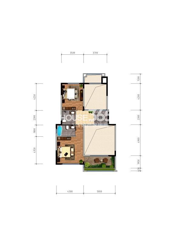 枫林九溪叠墅二层3室2厅3卫1厨 202.00㎡