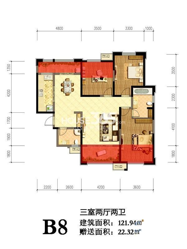 曲江千林郡B8户型3室2厅2卫1厨 121.94㎡