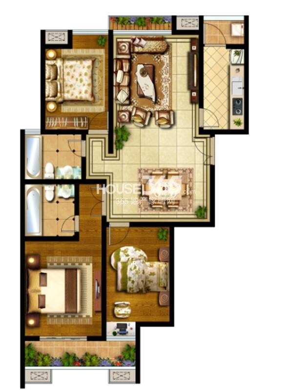 国金华府11号楼C户型3室2厅2卫1厨 130.00㎡