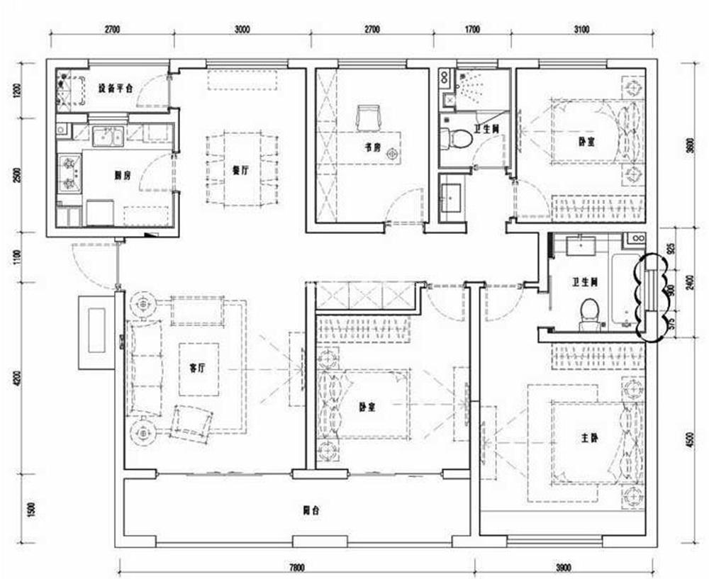 五矿崇文金城一期10#、16#标准层V系列140平方米户型