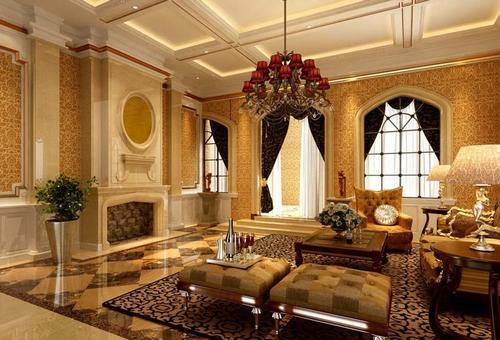 欧式客厅装修效果图 :大户型奢华欧式客厅设计