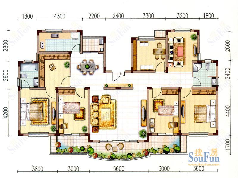阳光半岛花园洋房户型5室3厅2卫1厨户型;