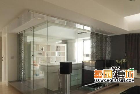 > 客厅玻璃隔断效果图 8式通透明亮