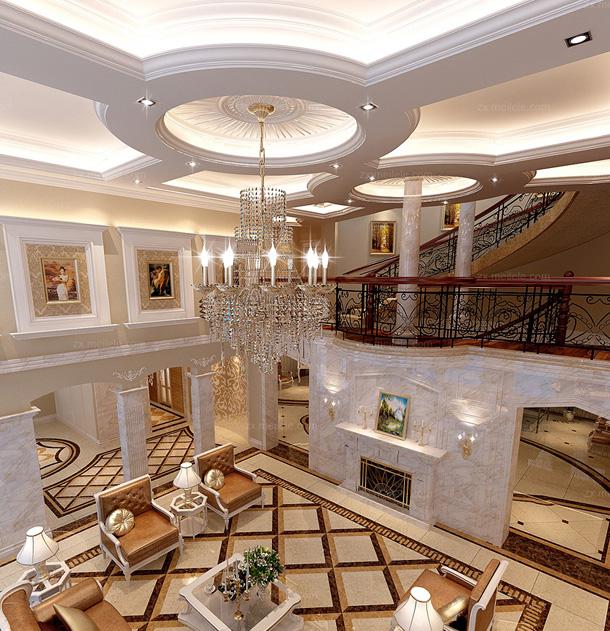 欧式吊顶装修效果图 通过吊顶的设计让家完美