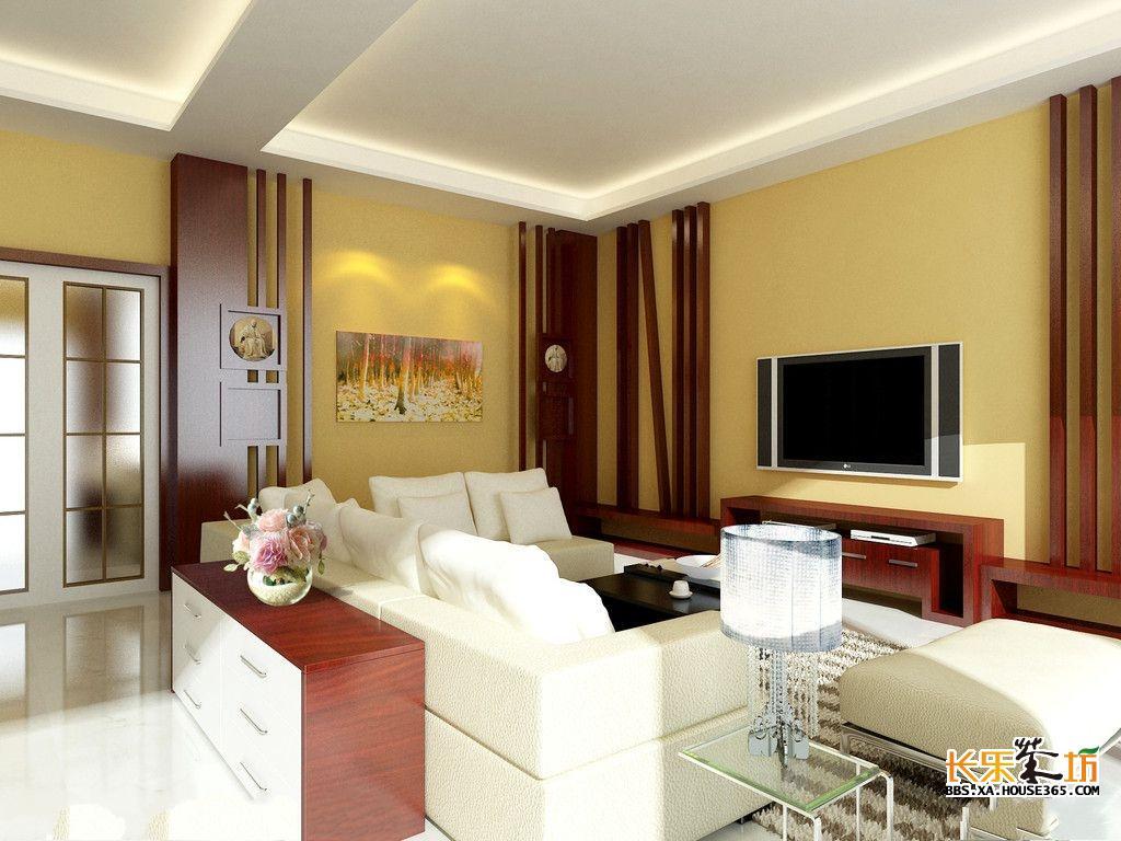 电视背景墙与客厅墙面颜色保持一致